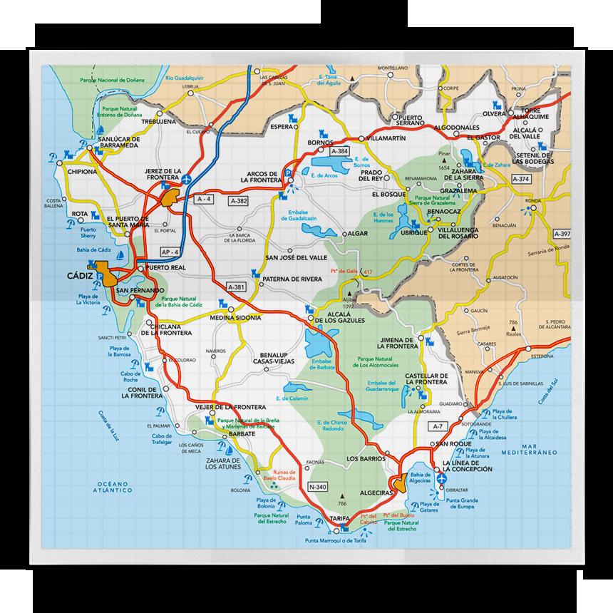 Mapa de la provincia de Cádiz