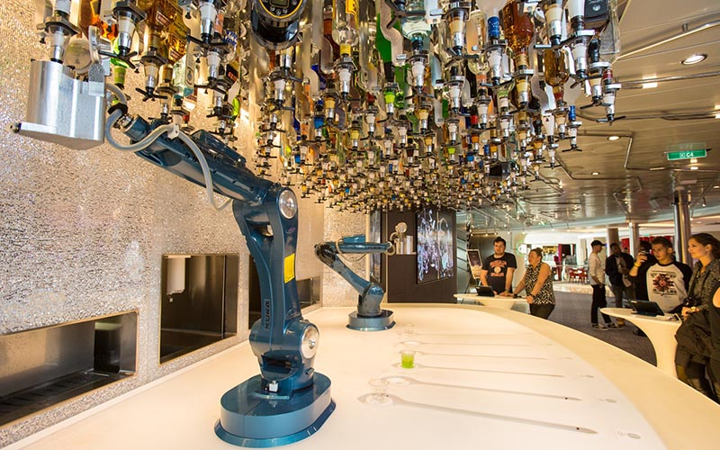 Royal Caribbean introduces its newest and most technologically advanced  cruise ship Anthem of the Seas.  Bionic Bar