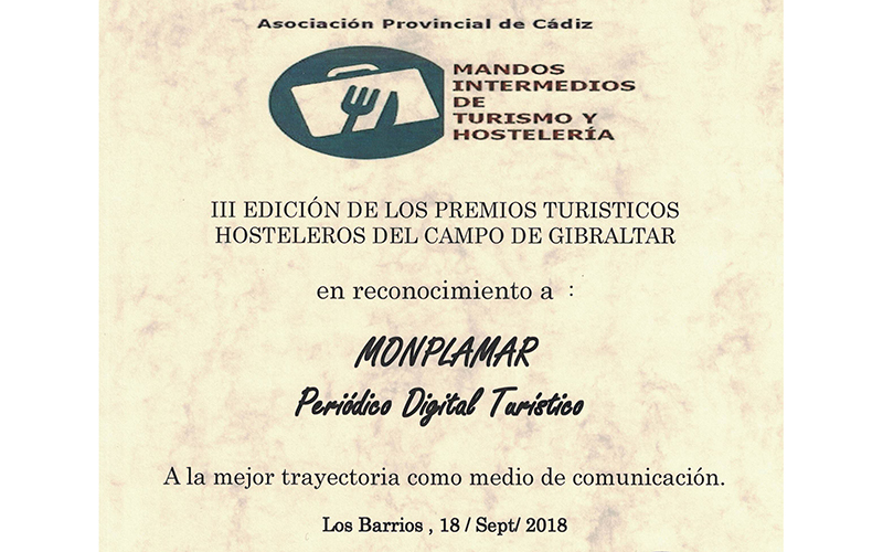 Monplamar-Premio-2018-Asociacion-Provincial-Mandos-Intermedios-de-Turismo-y-Hosteleria-de-Cadiz